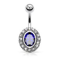 Blue Oval Shape Paved CZ Around Large Oval CZ Surgical Steel Belly Button Rings 14ga