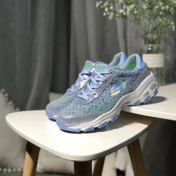 """Skechers"" Women Fashion Lace Breathable Thick Bottom Sneakers Casual Running Shoes"