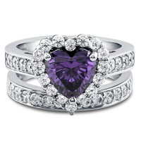 STERLING SILVER SIMULATED AMETHYST CUBIC ZIRCONIA HEART HALO RING SET