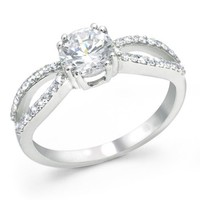 Bling Jewelry Sterling Silver Infinity Engagement Ring Round CZ