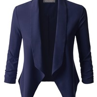 Lightweight Ruched 3/4 Sleeve Open Front Blazer Jacket
