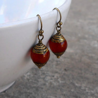 Stability, Genuine Carnelian Hand Made Tibetan Bead Earrings