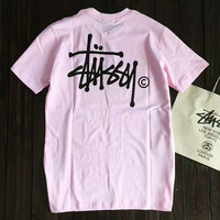 Stussy Print Casual Sport Short Sleeve Shirt Top Tee Blouse Pink G-A-GHSY-1