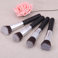 Silver Color High Quality 4 Pcs Black Synthetic Kabuki Flat Foundation Brush Single Makeup Cosmetic Brush pincel oval Anne