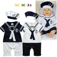 2015 latest design babies rompers short sleeve infant child baby one-piece romper with hats Newborn baby handsome outfits kids clothing set