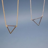 Open Trianlge Pendant Necklace in Gold / Silver