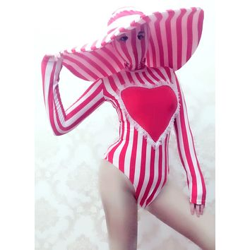 sexy Red White Striped Stretch Skinny Bodysuit Big Hat Nightclub woman Singer DJ Dance Costume Bar Party Catwalk Stage Clothes (as photo One Size)