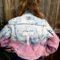 SALE Ombre Spiked Studded Jacket  Levi Banana Republic American Eagle Studded Jean Distressed Vest Denim  Country Cowgirl Punk Grunge