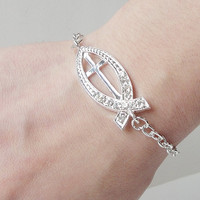 Silver Clear Crystal Christian Fish Shape Cross Sideways Connector Bracelet, Religious Jewelry