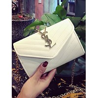YSL Yves Saint Laurent 2018 fashion trend embroidery chain shoulder bag F0469-1 White