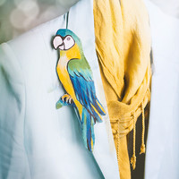 OOAK Tropical Ara Parrot Statement Brooch, fabric textile hand painted brooch, blue and yellow bright macaw jewelry