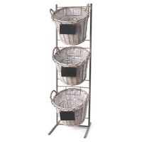 Stacked Baskets w/ Stand, Gray, Storage Baskets