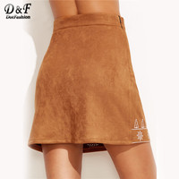 Suede Skirt Women Camel Vintage Embroidered Casual A Line Mini Skirt 2017 Fashion Spring Zip Side La