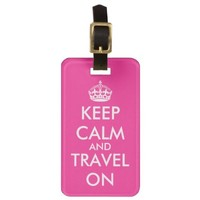 Pink keep calm luggage tag | Personalizable