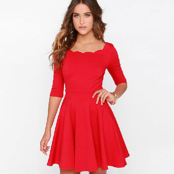 Casual Red Half Sleeve Mini Skater Dress