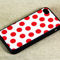 Red and White Polka Dots iPhone 4 iPhone 4S Case, Rubber Material Full Protection