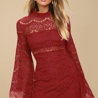 Bewitching Babe Wine Red Lace Bell Sleeve Dress