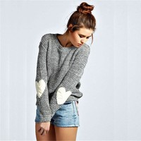 Women Fashion Multicolor Heart-shaped Long Sleeve Knitwear Sweater Tops