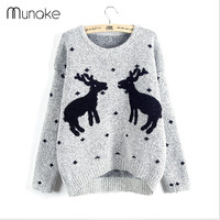 Ugly deer knitted Christmas Sweater girl 3d Printed Lovely Loose Korea Pink Winter Sweater Women Thicken cashmere pullover Brand