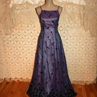 Vintage Purple Prom Dress Homecoming 80s Formal Spaghetti Straps Floor Length Gown Velvet Burnout Size 4 Dress XS Small Womens Clothing