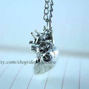 antique anatomical heart necklace - sterling silver heart jewelry - anatomically correct