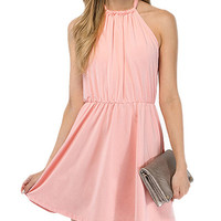 Pink Halter Open-Back Chiffon Dress