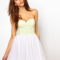 Lashes of London | Lashes Of London Prom Dress With Fluro Scallop Bustier at ASOS