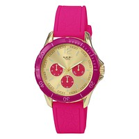 49784 - MILANO EXPRESSIONS HOT PINK SILICONE BAND WATCH WITH GOLD CASE