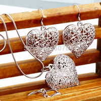 """sterling silver jewelry  Heart Necklace Earring women set """"TOP quality"""""""