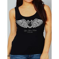 Country Life Outfitters Black Live Love Ride Horseshoe Wings Vintage Bright Fitted Tank Top Shirt