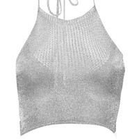 Sofia Metallic Knit Halterneck Crop Top