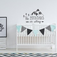 WonderWallzStore Mountain Nursery Wall Decal - The Mountains Are Calling Decal Nursery Quote - Woodland Forest Nursery Wall Decal Kids Room Children Decor