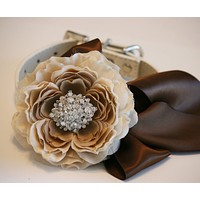 Floral Peonies Dog collar Wedding, Country rustic, Neutral wedding , Wedding dog collar