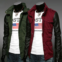 Faux Leather Sleeve Men Military Style Zip Up Jacket