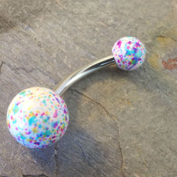 White Splatter Paint Belly Button Ring Pastal Colors