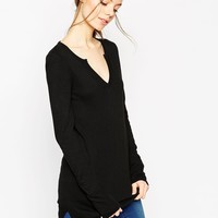 ASOS Flared Sleeve Tunic with Deep Notch V-Neck in Knit at asos.com
