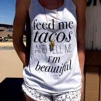 LMFUIB Women Tank Tops Cropped Loose Tee O Neck T-Shirt Feed Me Tacos and Tell Me I'm Beautiful Letter Printed Summer Crop Top