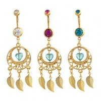 Jeweled Gold Dreamcatcher with Gold Feathers Dangle Belly Ring - 14g (1.6mm), 3/8
