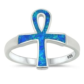 Blue Lab Opal Ankh Loop Cross Set in a Wide Band