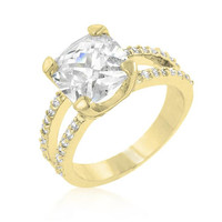 Double Band Cubic Zirconia Engagement Ring, size : 08
