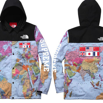 Supreme x North Face EXPEDITION COACHES JACKET MAP M L XL SS14 atlas
