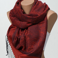 RED Pashmina Scarf or Shawl. Women Paisley Long Scarf. Winter Neck wrap. Women Accessories. Christmas Gift.