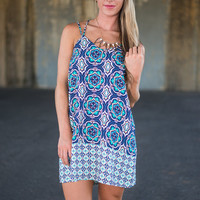 Perfectly Patterned Dress, Navy