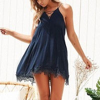 Lace Up Solid Women Dress Beach Embroidery Party Casual Dres V Neck Sleeveless Sexy Mini Dress