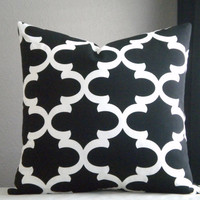 Decorative pillow, Black and white trellis print pillow cover, Fabric both sides, all sizes available