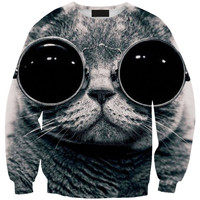 Pullover Glasses Eyewear Stylish 3D Strong Character Fashion Cats Hoodies = 4817490372