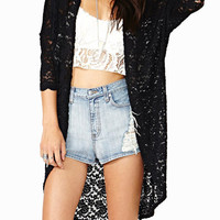 Black Scallop Sleeve Floral Lace Cardigan
