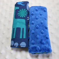 2D Zoo Navy Infant/Toddler Reversible Car Seat Strap Covers. (Choice of minky)