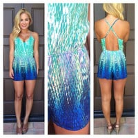Blue Watercolor Open Back Romper