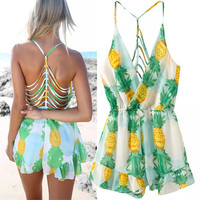 Pineapple Print Beach Backless Jumpsuit Romper